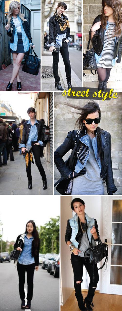 E vale não só a blusa com a jaqueta, mas olhem como a jaqueta com um colete  jeans por cima pode ficar super bacana! Adoramos o sanduíche (iche) blusa  ... c90e917cff